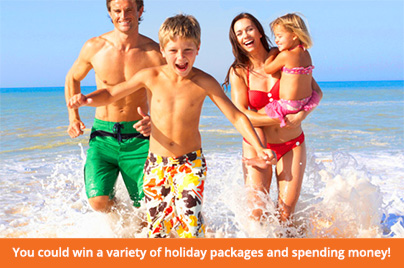 You could win a variety of holiday packages and spending money!